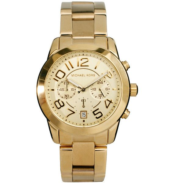 Michael Kors MK5726 Gold Chronograph Watch ($205) ❤ liked on Polyvore featuring men's fashion, men's jewelry, men's watches, accessories, watches, mens gold watches, michael kors mens watches, mens chronograph watches and mens gold chronograph watches