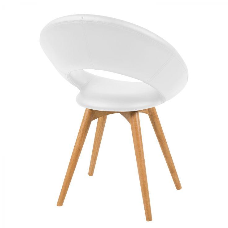 Gestoffeerde stoelen Page (2-delige set) - zwart kunstleer - Wit
