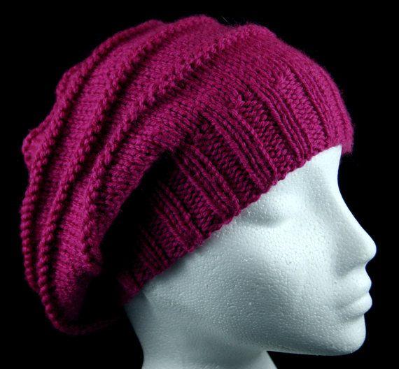 Hand knitted 'purl ridges' slouchy beanie hat in 'Fuchsia' pink. Handknit hat. Knit hat. Wool hat