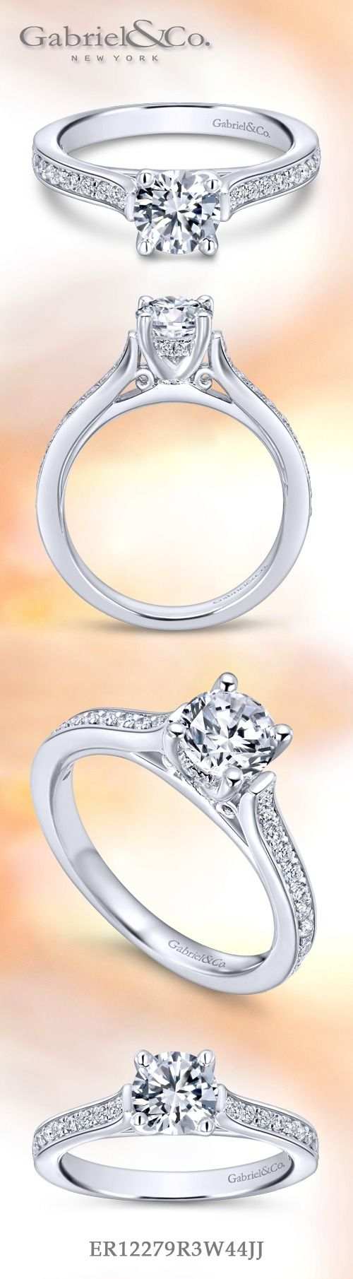Gabriel & Co. - Voted #1 Most Preferred Fine Jewelry and Bridal Brand. Meet Hayden -  Dazzling 14k White Gold Round Straight Engagement Ring.