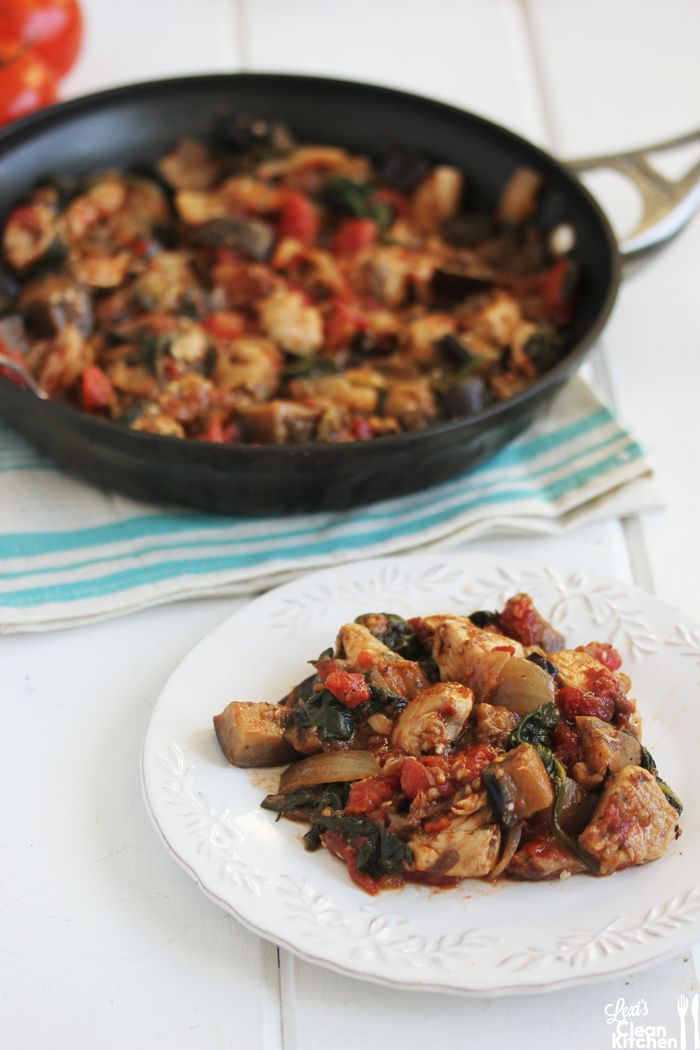 One-pan chicken & eggplant dinner - make in under 30 min - from Lexi's Clean Kitchen