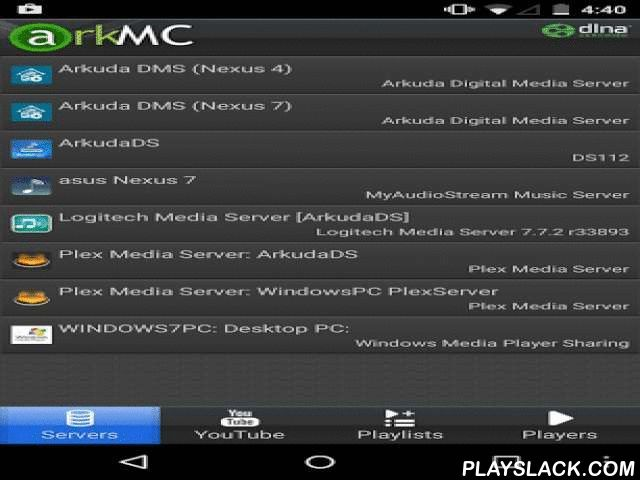 ArkMC LITE UPNP Media Center  Android App - playslack.com , * Very easy to use, straightforward menu to discover, select and stream all your movies, music, videos and photos* Enjoy HD Movies, videos, and photos on your TV or any other screen* Access and enjoy ALL your music files, wherever they are stored* Integrated powerful ArkMC media player, supporting most of the popular media formats: 3GP, AVI, WMV, ASF, MP4, MKV, MPG/MPEG, TS, M2TS, 3GP, VOB, FLV, MOV, M4V* Fast detection of all media…