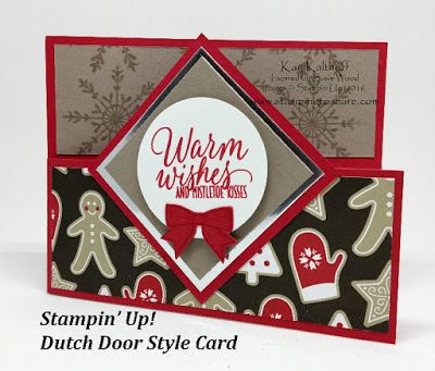 Stampin' Up! Dutch Door Style Card with How To Video, Holly Berry Happiness Bundle, Tin of Tags, Kay Kalthoff, #stampingtoshare
