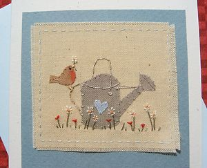 Hand-stitched card made by Helen Drewett THE OLD WATERING CAN more in my shop! | eBay