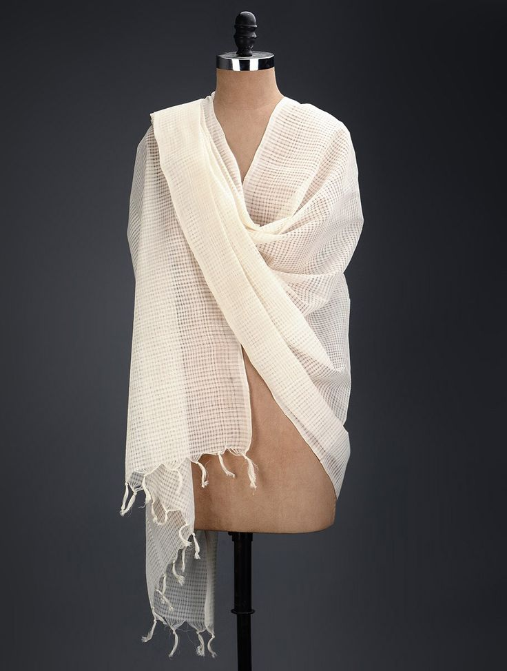 Buy White Cotton Handwoven Dupatta Accessories Dupattas Online at Jaypore.com