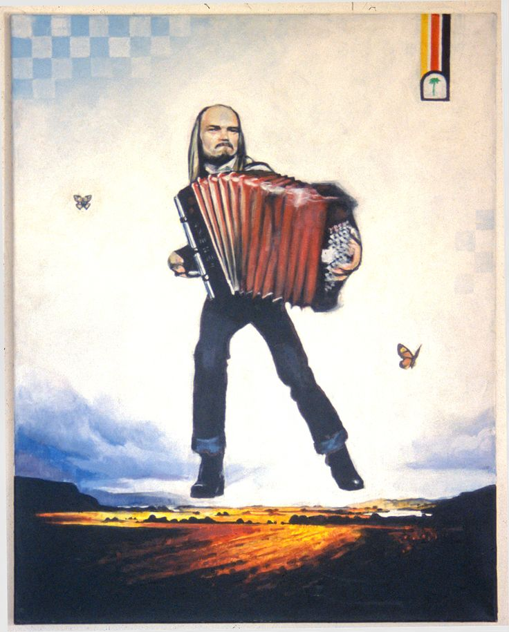 Painting - Terje Tysland flying over the gulf of Byneset (Gulosen) #painting #portrait #accordion #TerjeTysland #trønderrock #legend #gulosen