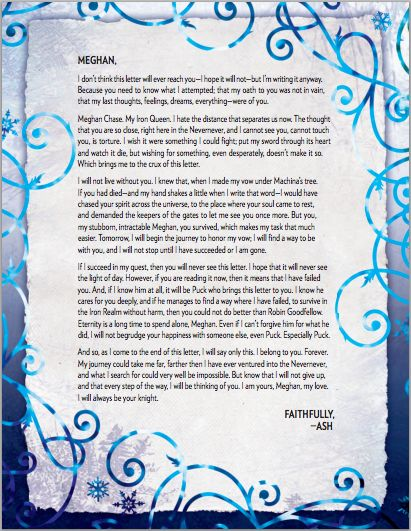 Letter from Ash to Meghan  - The Iron Fey series by Julie Kagawa