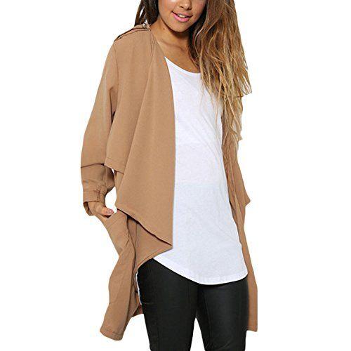 Celltronic Women's 3/4 Sleeve Chiffon Coat Asymmstric Hem Ruffles Front Open Windbreak Cardigan Tops(Khaki,M)  Special Offer: $13.99  122 Reviews Size:Asian Size S/M/L/XL/XXL(1cm=0.3937inch) (1inch=2.54cm) Asian Size S=US Size XS(4):(Shoulder 38cm/14.8″),(Sleeve...