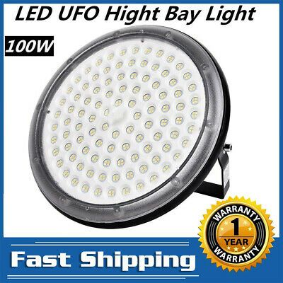 100W LED High Bay Light UFO Style IP65 Outdoor Commercial Warehouse 4000K USA