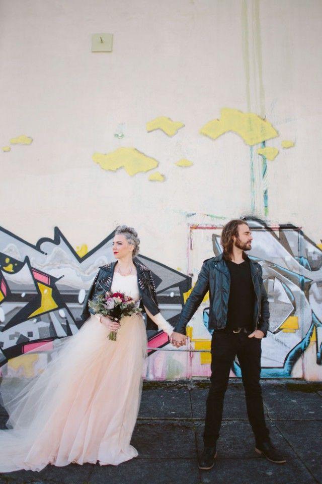 Elizabeth Stuart Rosemary Gown- Rock n Roll Bride 'Glamorous Grunge Inspired Wedding Shoot' #elizabethstuart
