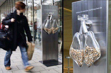 Creativa campaña Anti-Tabaco. No fumar. Don't smoke.