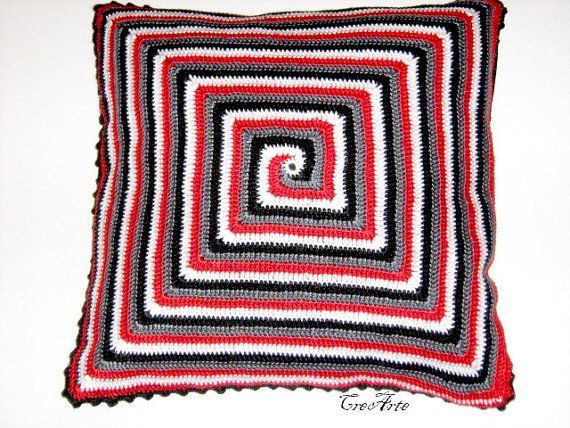 Crochet Pillow Spiral Decorative Cushion by CreArtebyPatty on Etsy