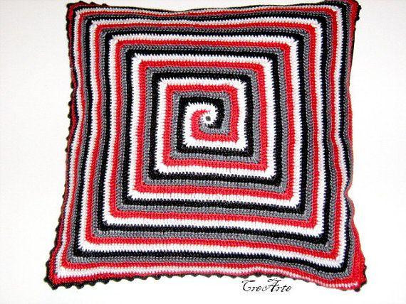 Crochet Pillow Spiral Decorative Cushion by CreArtebyPatty on Etsy