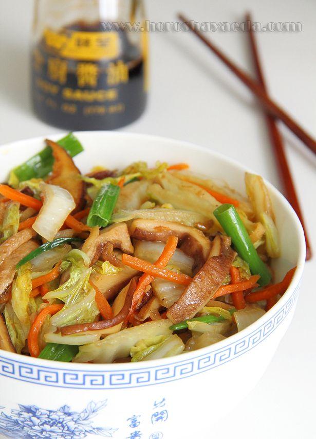 Пекинская капуста, жаренная с грибами шиитаки