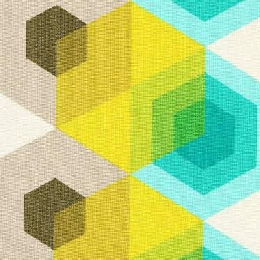 Hexagons Aqua - Stitchbird Fabrics - Gorgeous contemporary, retro and vintage fabrics