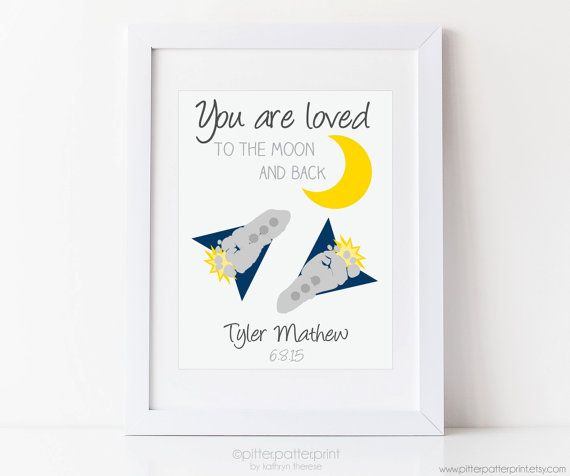 Space Nursery I Love You To the Moon and Back by PitterPatterPrint