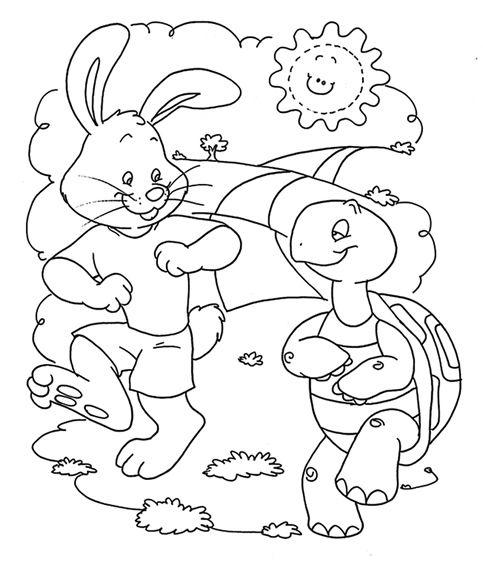A Lebre E A Tartaruga Com Imagens Tartaruga Para Colorir