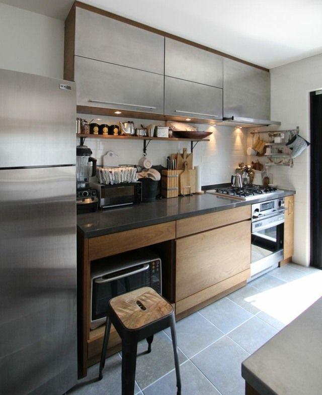 kleine Küchenzeile moderne Edelstahl Fronten Echtholz
