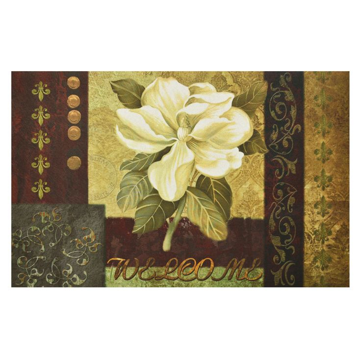 Achim Importing Co. Magnolia Welcome Outdoor Rubber Entrance Mat 18 in. x 30 in., Multi