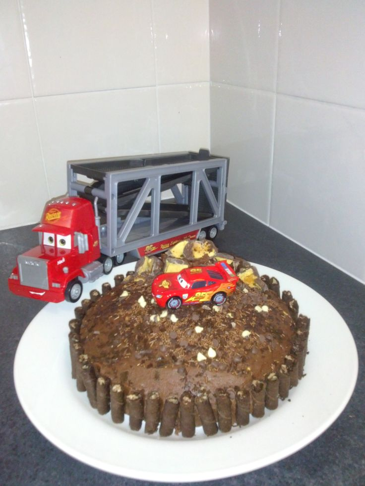 Lightning McQueen and the Big Mac with Butter Cream Icing Cake by Bubblegum Treehouse