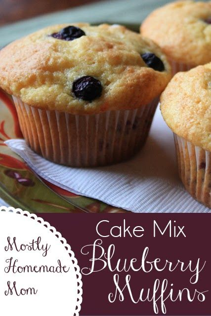 Cake Mix Blueberry Muffins - these muffins are so easy to whip up at the last minute, and so pretty too! Fool proof!