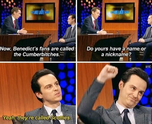 Scotties! And that's the CUMBERBATCH, thank you very much. Singular: Cumbercookie.