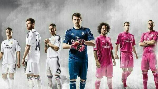 Real Madrid 2014-2015. Love the NEW kit colors... pink, black, and white! ♡ Hope they win El Clasico in ten days!♡