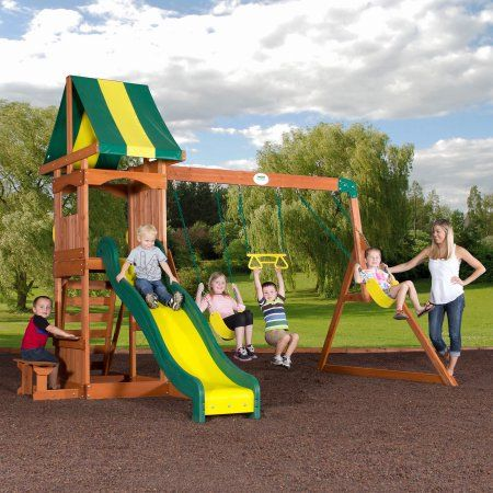 Backyard Discovery Weston Cedar Swing Set.... This one is also a great price, and is oriented the right way to easily add a prow to turn it into a playship