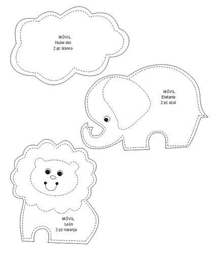 molde do móbile de animais e arcoiris II