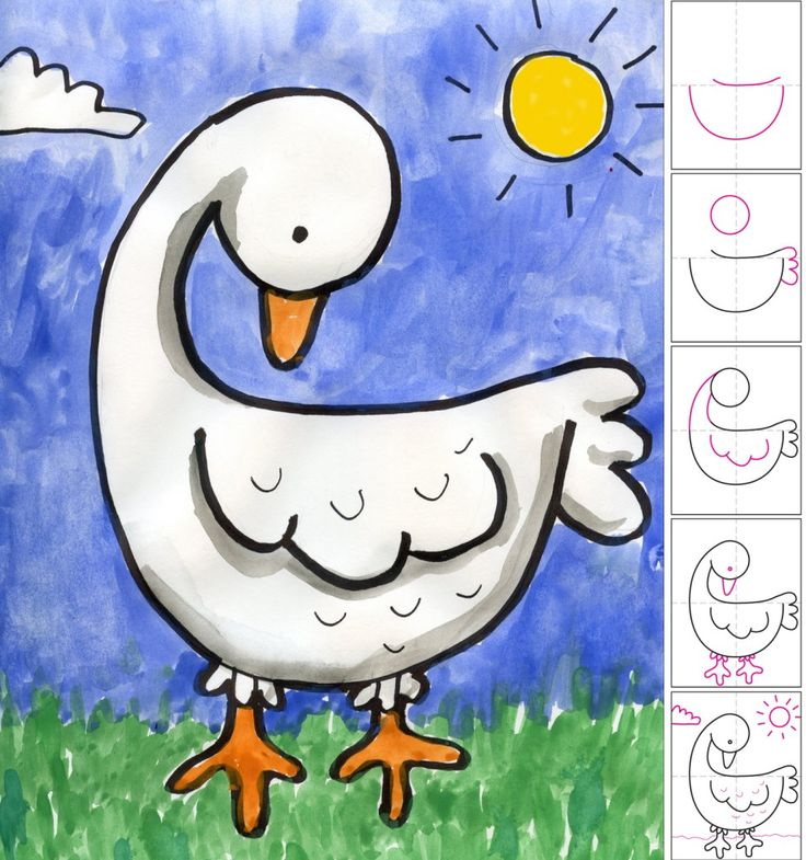 How to draw a Goose. PDF tutorial available. #artprojectsforkids