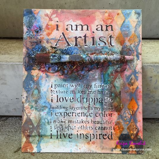 The Colour Press: Altered paintbrush mixed media Canvas using Colouarte