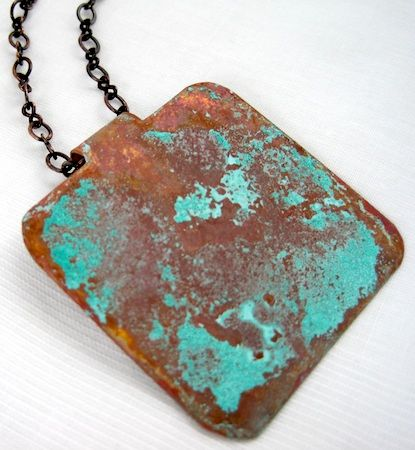 turquoise patina on copper