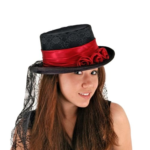 Gothic Rose Victorian Costume Top Hat - This unique velvet Victorian style top hat is just what you need to finish off your gothic mistress costume.Detailed with a thick red satin hat band with black lace underneath, and 3 red satin roses in the front, this short black velvet top hat also has an attached black spider web veil that falls 60cms long. The inside of the hat features a built in sweat band. #gothic #hat #halloween #yyc #costume