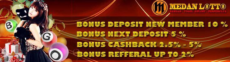 Keunggulan Utama MEDAN LOTTO adalah Situs Judi Togel Online Terpercaya di Indonesia. Pasaran Togel Online di MEDAN LOTTO murni 100% hasil result dari pasaran negara yang bersangkutan, tanpa adanya campur tangan perorangan. - Bonus Deposit 10% (NEW MEMBER) - Bonus Deposit 5% (NEXT DEPOSIT) - CASHBACK 2% sd 5% - Bonus Refferal 1.5%