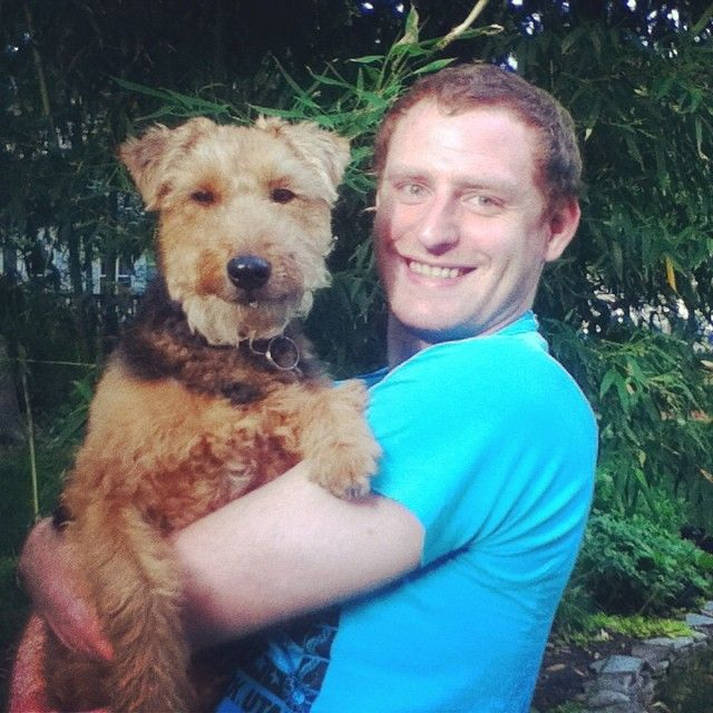 Patriot John Adams with his Welsh Terrier #Rescue, Dasha!  Dashas YouTube: http://www.youtube.com/user/DashasDogParty