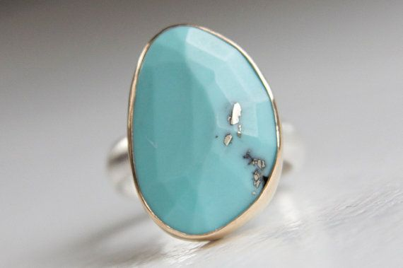 Turquoise Ring in Recycled 14k Gold and Sterling Silver - Free Form Rose Cut Stone
