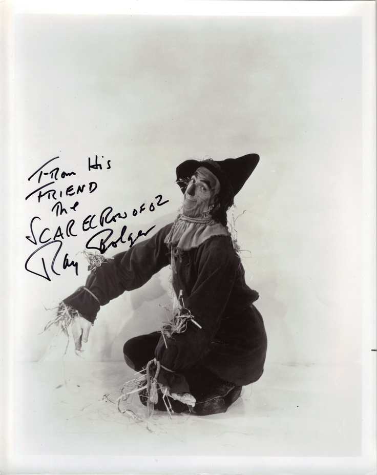 Signed photo of Ray Bolger as The Scarecrow of Oz