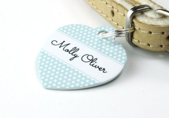 Personalised Pet ID Tag Heart  Dog Name by WeLovePets on Etsy