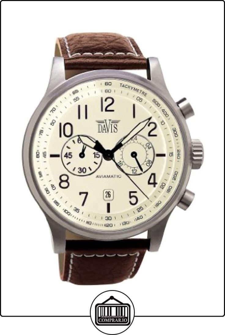 Davis-1023- Reloj Hombre Vintage Aviador 42mm - Esfera Crema Cronógrafo Sumergible 50M - Correa de Piel Marron con pespunte de  ✿ Relojes para hombre - (Gama media/alta) ✿