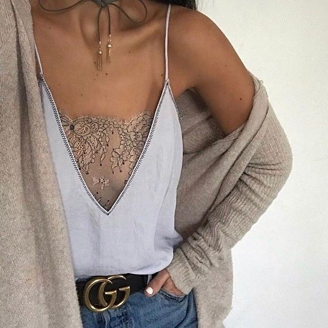 Deep v and delicate lace, rethink your cami situation a la @thehouseofsequins' perfect base layer | Get ready-to-shop details with www.LIKEtoKNOW.it | http://liketk.it/2q4rn #liketkit
