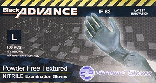 Diamond Gloves Black Advance Nitrile Examination Powder-Free Gloves, Heavy Duty, Large, 100 Count