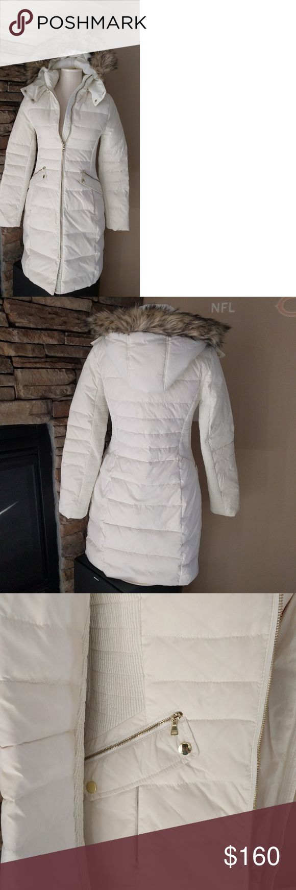 ❄️❄️HP 2/14 Gorgeous NWT SNOW coat from Express Size small, brand new with tags. Gorgeous, perfect condition snow white coat from Express. Gold details buttons and zippers on the pockets. Faux fur trim on detachable hood. Size Small is 2-4 equivalent. Thank you for shipping my closet! Express Jackets & Coats