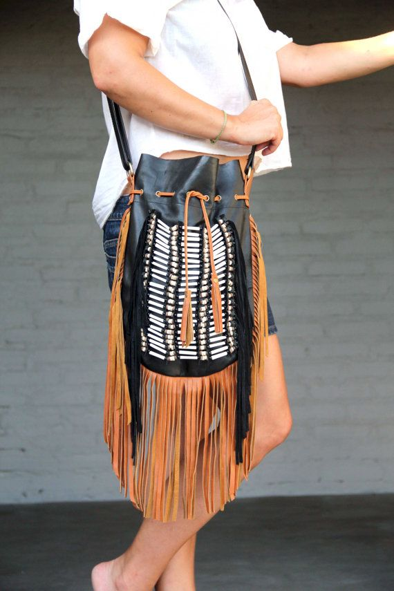 Boho fringed leather bag black with tan fringes by etnikabali