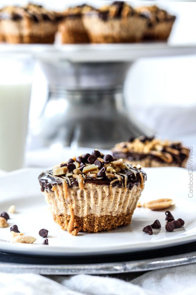 Mini Chocolate Peanut Butter Pies are easy, make ahead, almost NO BAKE and, decadently DELICIOUS with toffee graham cracker crust, creamy peanut butter filling, and silky chocolate ganache. #peanut butter #pie, #chocolate #peanutbutterpie