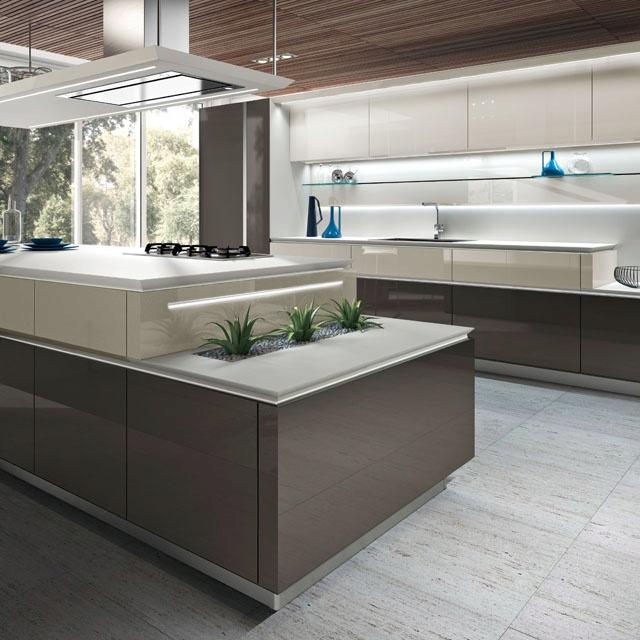 Gloss brown kitchen furniture