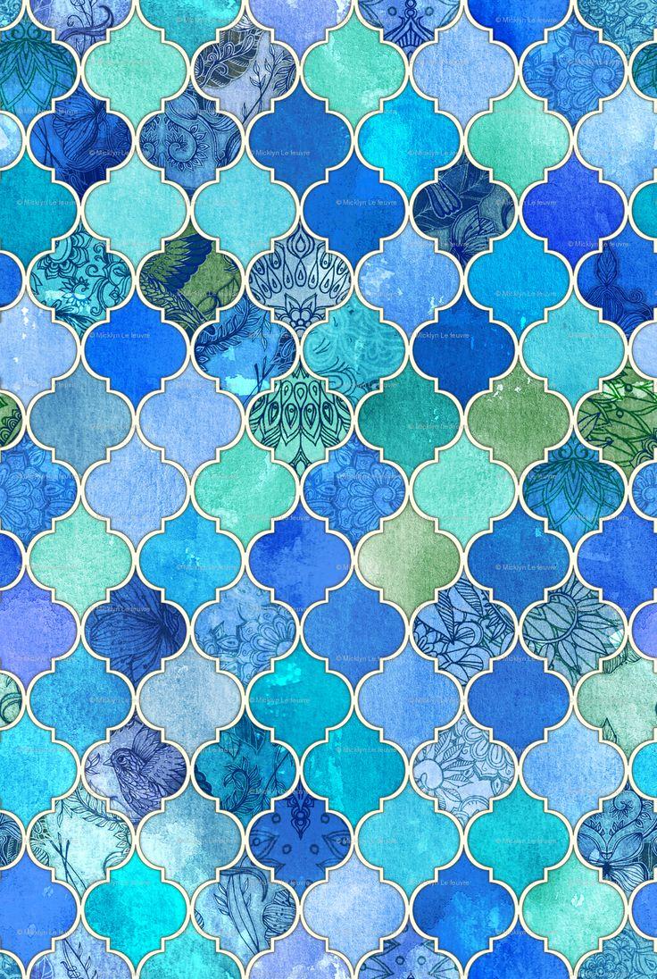 Rrrcobalt moroccan repeat spoonflower 1153 for Moroccan wallpaper uk