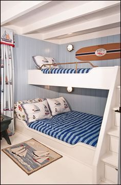 Desire Empire: Beach House Decor, Beds and other Joinery for Small Spaces (not so much decor as shape of the bed...)