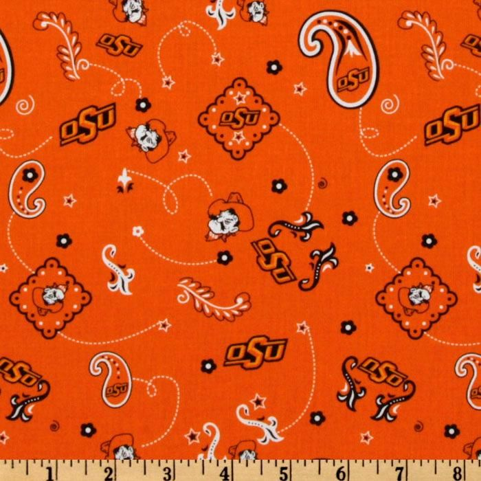 Collegiate Cotton Broadcloth Oklahoma State Bandana Orange from @fabricdotcom  The University of Oklahoma Cowboys cotton broadcloth 8.98 a ydfabric features a bandana design with the University logo, school colors include orange, white and black. Use in quilting, craft projects, apparel, decorating dorm rooms and home decor accents.