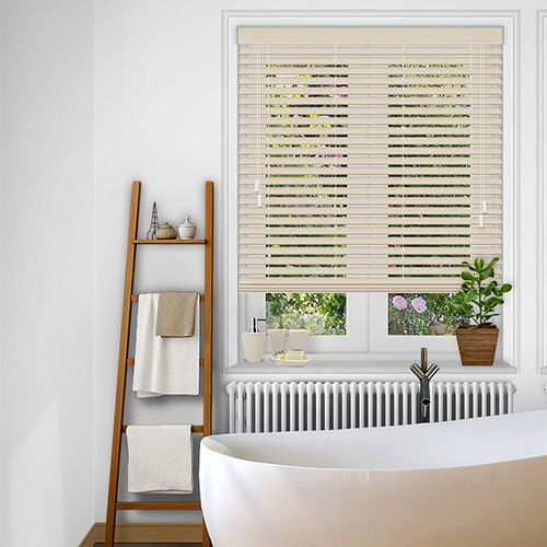 A Fauxwood blind with a stylish Calico colour finish and uniform grain effect manufactured in a 50mm slat