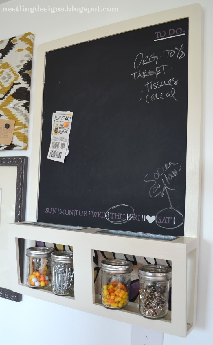 Ikea chalkboard redo. Love the days of the week painted on it.
